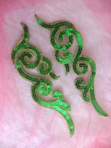 """GB350 Sequin Appliques Green Gold Designer MIRROR PAIR  7"""""""