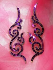 """GB350 Sequin Appliques Purple Gold Designer MIRROR PAIR  7"""""""