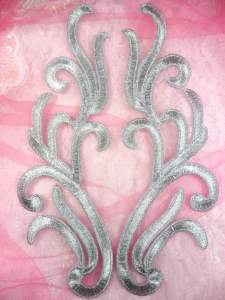 """GB355 Embroidered Silver Mirror Pair Appliques 8.75"""""""