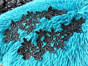 """Embroidered Floral Venice Lace Mirror Pair Appliques Royal Black 9.5"""" (GB360X)"""