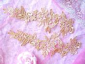 "Floral Appliques Embroidered Lace Mirror Pair Gold 9.5"" (GB360X)"