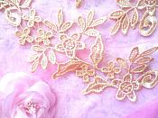 """Floral Appliques Embroidered Lace Mirror Pair Gold 9.5"""" (GB360X)"""