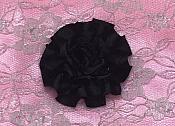 "GB374 Black Satin Ribbon Floral Applique 2"""