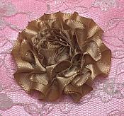 "GB374 Brown Satin Ribbon Floral Applique 2"""