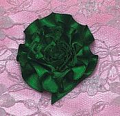 "GB374 Dark Green Satin Ribbon Floral Applique 2"""
