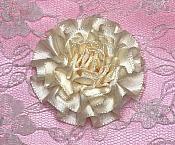 "GB374 Ivory Satin Ribbon Floral Applique 2"""