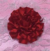 "GB374 Red Satin Ribbon Floral Applique 2"""