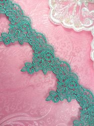 GB377 Floral Venice Lace Teal Flower Trim 2.25""