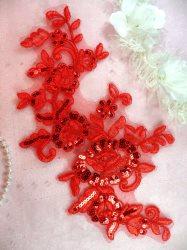 """Flower Applique Red Venice Lace Mirror Pair Set Sequin Dance Patch 12"""" (GB378X)"""