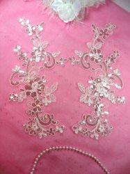 "GB383 Flower Appliques Antique White Crystal Venice Lace Mirror Pair w/ Sequins 11"""