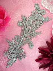 """GB384 Floral Applique Grey Silver Embroidered 8.5"""""""