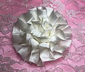 "GB4 Fluffy Antique White Satin Floral Bow Applique 2.5"""