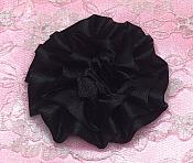 "GB4 Fluffy Black Satin Floral Bow Applique 2.5"""