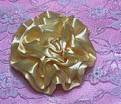 "GB4 Fluffy Buttercream Yellow Satin Floral Bow Applique 2.5"""