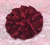 "GB4 Fluffy Burgundy Satin Floral Bow Applique 2.5"""
