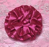 "GB4 Fluffy Fuchsia Satin Floral Bow Applique 2.5"""