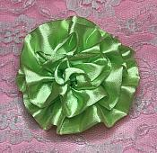 """GB4 Fluffy Lime Green Satin Floral Bow Applique 2.5"""""""