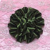 """GB4 Fluffy Olive Satin Floral Bow Applique 2.5"""""""