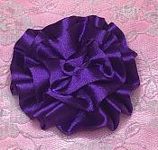 "GB4 Fluffy Purple Satin Floral Bow Applique 2.5"""