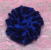 "GB4 Fluffy Royal Blue Satin Floral Bow Applique 2.5"""
