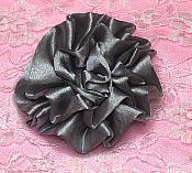 "GB4 Fluffy Silver Satin Floral Bow Applique 2.5"""