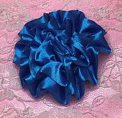 """GB4 Fluffy Turquoise Satin Floral Bow Applique 2.5"""""""