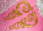 "Embroidered Appliques Gold Metallic Mirror Pair Designer Scroll Iron On Motifs  6.75"" (GB401X-gl)"