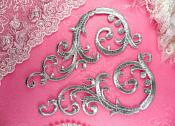 """Embroidered Appliques Silver Mirror Pair Designer Scroll Iron On Motifs  6.75"""" (GB401X-sl)"""