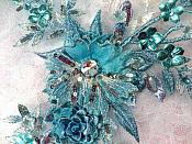 """Embroidered 3D Applique Rhinestone Center Turquoise Floral Sequin Patch 14"""" (DH70)"""
