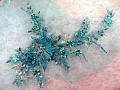 "Embroidered 3D Applique Rhinestone Center Turquoise Floral Sequin Patch 14"" (DH70)"