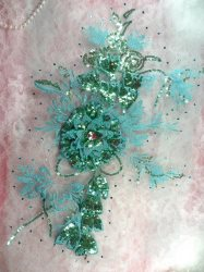 """GB418 Embroidered 3D Applique Turquoise Blue Floral Sequin Patch Rhinestone Center 17.25"""""""