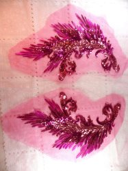 GB419 Embroidered Appliques Fuchsia Sequin Mirror Pair Wing Dance Patch 16""