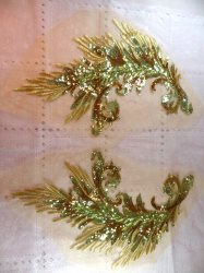 "One Side Embroidered Appliques Gold Sequin Mirror Pair Wing Dance Patch 16"" (OSGB419)"