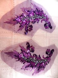 GB419 Embroidered Appliques Purple Sequin Mirror Pair Wing Dance Patch 16""