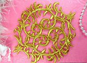 "Gold Applique Metallic Iron On Designer Embroidered Patch 6"" (GB420-gl)"