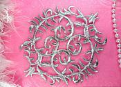 "Silver Applique Metallic Iron On Designer Embroidered Patch 6"" (GB420-sl)"