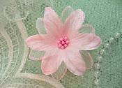 """Organza Flower Applique 3D Sheer Pink Glitter Beaded 2.5"""" (GB422-pk)"""