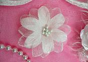 "Organza Flower Applique 3D Sheer White Glitter Beaded 2.5"" (GB422-wh)"