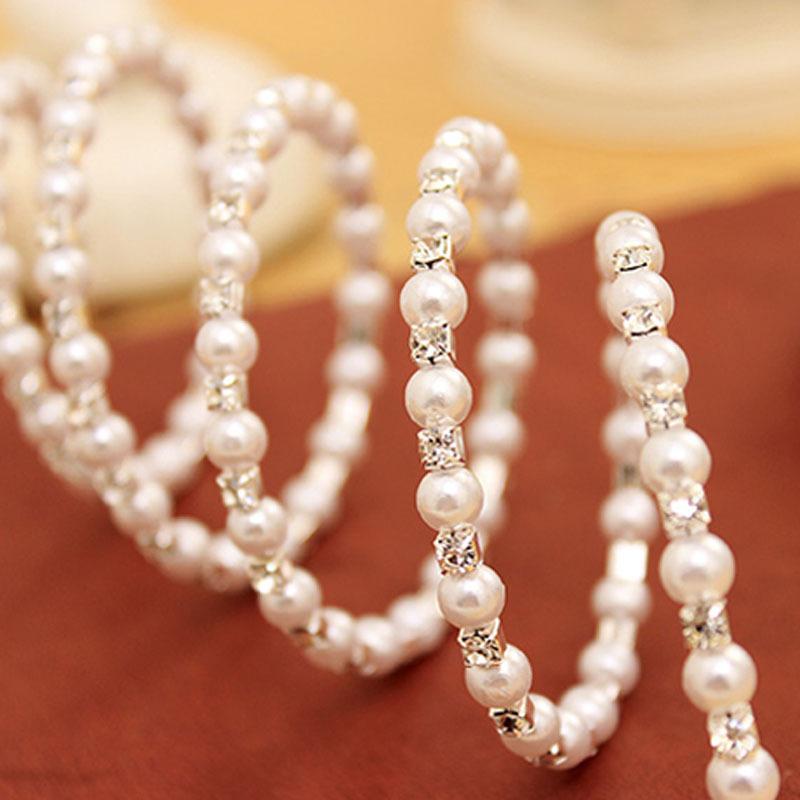 GB426 Pearl Bracelet w/ Rhinestones Bridal Accessory Flexible Comfort Bangle