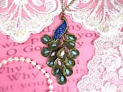 "Peacock Necklace Unique Vintage Blue Rhinestone Gemmed Dangle Chain 26"" (GB427-bl)"