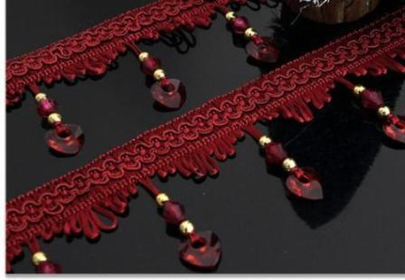 GB456 Heart Trim Beaded Fringe Wine Craft and Sewing Supplies