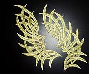 "Embroidered Appliques Metallic Gold Mirror Pair Venice Lace 8.5"" (GB433X)"