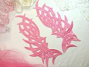 """Embroidered Appliques Pink Mirror Pair Venice Lace Dance Costume DIY 8.5"""" (GB433X)"""