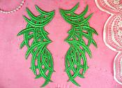 """RMGB433X (REDUCED) Embroidered Appliques Green Mirror Pair Venice Lace Craft Supplies Patch 8.5"""""""