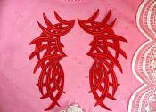 "Embroidered Appliques Red Mirror Pair Venice Lace 8.5"" (GB433X-rd)"