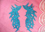 "Embroidered Appliques Turquoise Mirror Pair Venice Lace 8.5"" (GB433X-tr)"