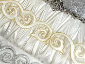 """Scroll Trim Embroidered White Gold Iron On 1.75"""" (GB435)"""