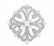 "Bridal Rhinestone Brooch Pin Silver Crystal Pearl Glass 2"" (GB437-slcrp)"