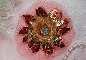 """Sequin Applique Floral 3D Red Gold Crystal Rhinestone Center Embroidered Flower Patch 3"""" (GB438-rdgl)"""
