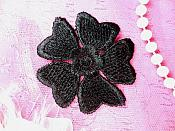 "Embroidered Applique Flower Venice Lace Black Floral 2"" (GB439-bk)"
